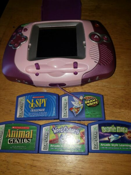 Leap Frog Leapster Learning Game System & 5 Games Purple & Pink #20209 $12.00