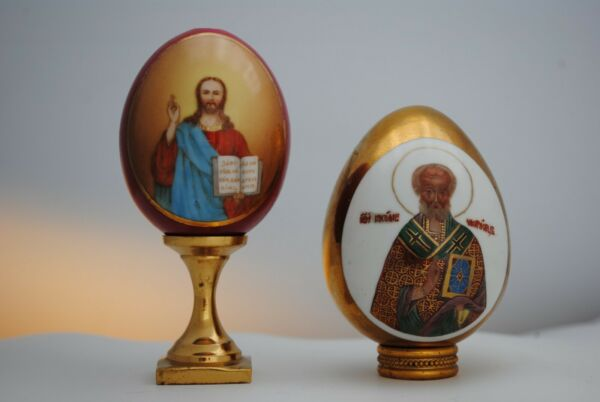 Russian Imperial Porcelain Antique Easter Eggs Christ and St. Nicholas