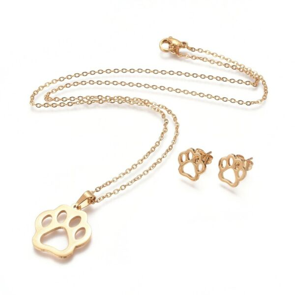 Stainless Steel Necklace Stud Earrings Lobster Dog Paw Prints Gold 17.32quot; P689 $12.99
