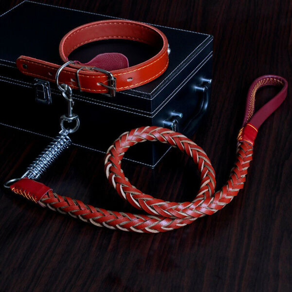 Dog Walking Rope Cowhide Collar Pet Dog Collar Supplies Traction Rope Dog Chain $23.74