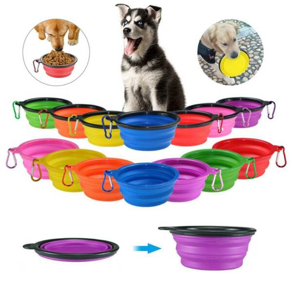 Pet Cat Collapsible Feeding Bowl Travel Dog Portable Silicone Water Dish Camping $2.49