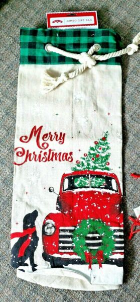 New Holiday Time Christmas Burlap 24quot; by 27quot; Santa Sack Bag Red Truck and Dog