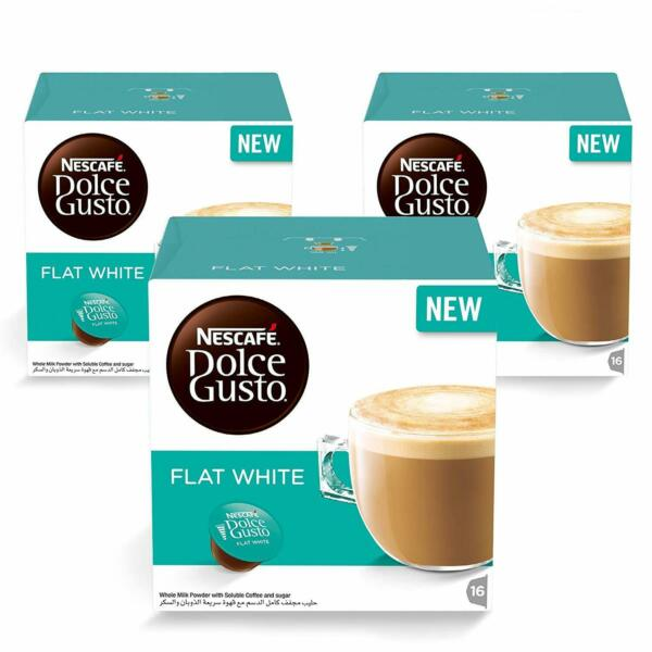 Nescafe Dolce Gusto FLAT WHITE coffee pods for Dolce Gusto Machines 48 ct 3 pck