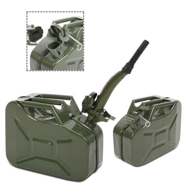 Army Green 10L 0.8mm Fuel Can Backup Steel Tank Fuel Gas Gasoline Portable