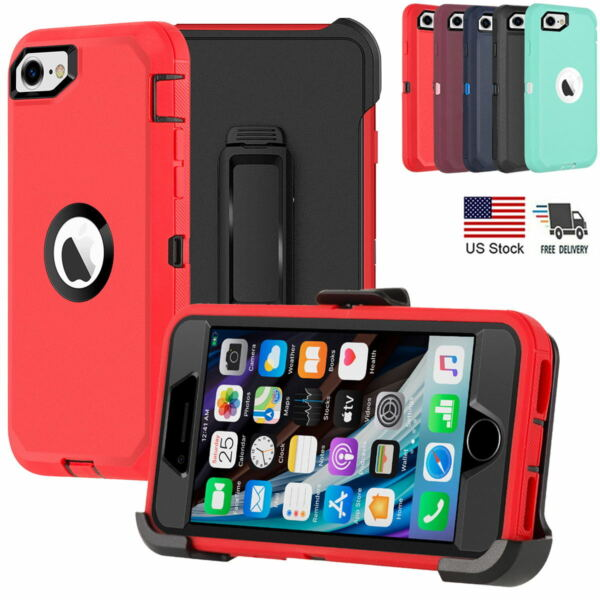 For iPhone SE 2020 8 7 Case Shockproof Heavy Duty Cover Belt Clip Fits Otterbox $11.99