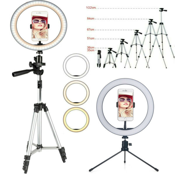 Dimmable LED Ring Light Lamp Tripod Stand For Phone Selfie Camera Studio Video