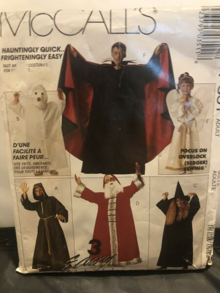 1991 McCALL#x27;S Pattern #P351 Dracula WIZARD Ghost WITCH Angel VTG SANTA Costumes $4.75