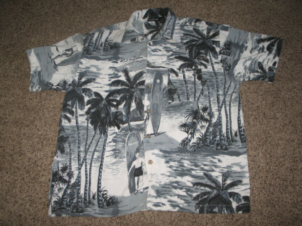 RARE VTG MEN WEARING BATHING SUITS CORDUROY WAIKIKI HAWAII SURFBOARD SHIRT Sz XL