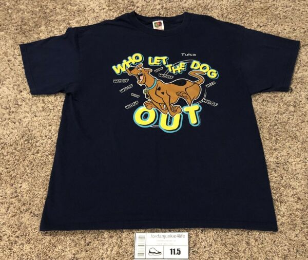 Vintage Scooby Doo Who Let The Dog Out Adult Tee Sz XL Hip Hop Rare Navy 2000 $24.99