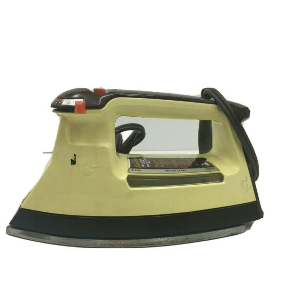 Vintage 1960s Small Yellow Sunbeam Shot of Steam Self Cleaning Iron Model #10043