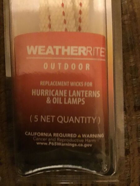 "WeatherRite Outdoor Replacement Wicks Hurricane Lanterns Oil Lamps 1 2"" X 5 1 2"" $4.99"