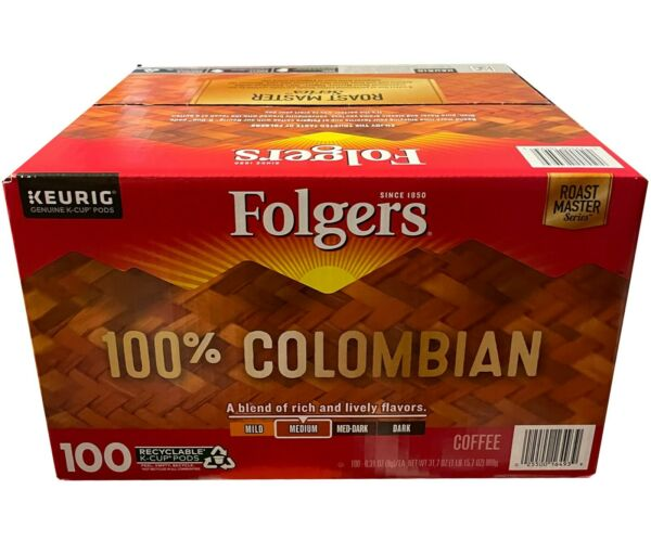 Folgers Classic Roast Coffee MEDIUM DARK 100 K Cups Keurig Hot