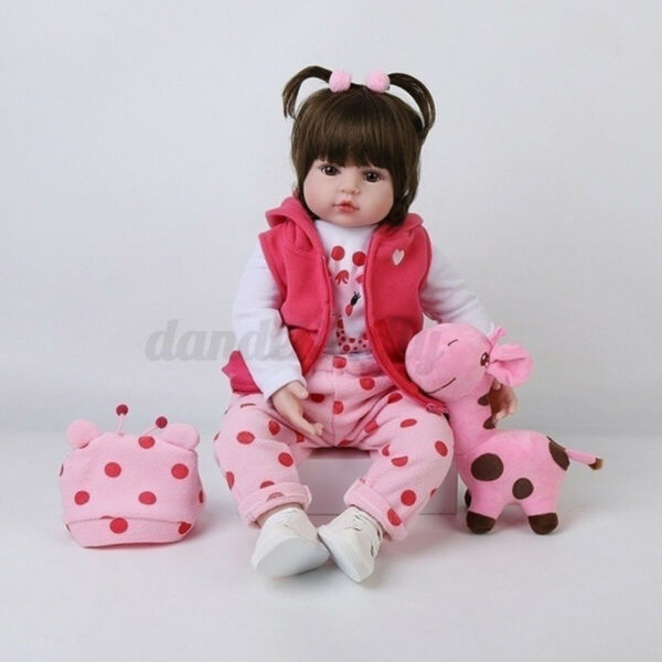 18 Inch Baby Doll Girl Soft Silicone Lifelike Newborn Reborn Doll amp; Cloth