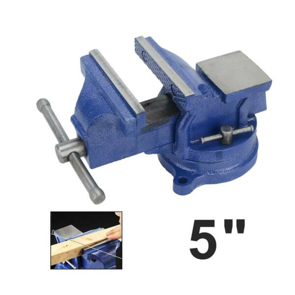 5quot; Bench Vise with Anvil Swivel Locking Base Table top Clamp Heavy Duty Vice