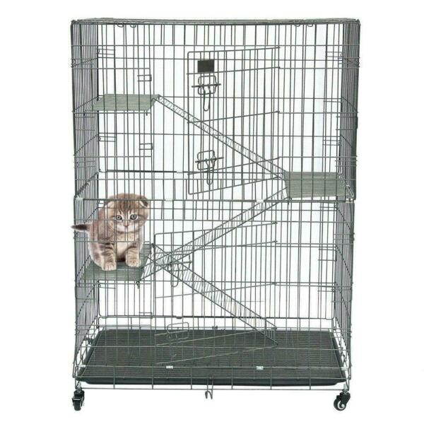 New Dog Carriers Large Fold Pet Cat Wire Cage Indoor Outdoor Playpen Silver $49.99