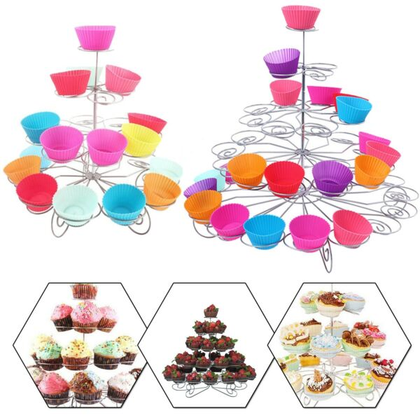 3 5 TIER CUPCAKE STAND CAKE HOLDER TABLE DECORATION WEDDING PARTY CELEBRATION