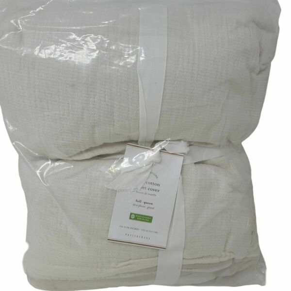 Pottery Barn Soft Cotton Duvet Cover Full Queen Ivory NEW $99.95