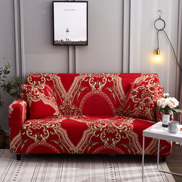 Red Stretchable Sofa Cover Royal Style Slipcover Sofa Elastic Spandex Cover $24.00