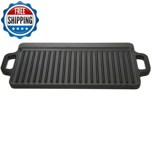 Cast Iron Reversible Grill Griddle Cookware Camping Portable Cooking Kitchen New