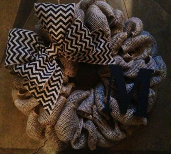 Burlap Wreath With Black Chevron Bow amp; Letter Of Your Choice