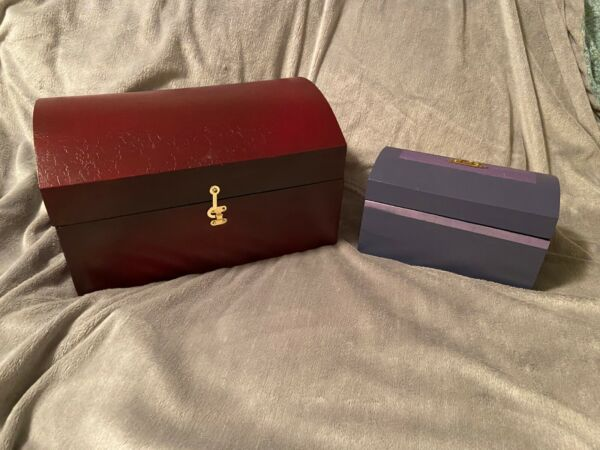 2 Beautiful Wood Boxes Vintage Nice Condition