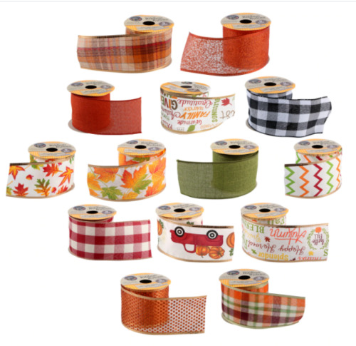 2.5quot; Fall Harvest Thanksgiving Autumn Orange Plaid Leaves pumpkin Wired Ribbon 1