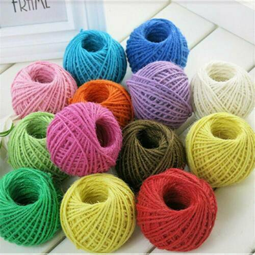 50M Burlap Natural Fiber Jute Twine Rope Cord String Craft DIY Decor Ribbon