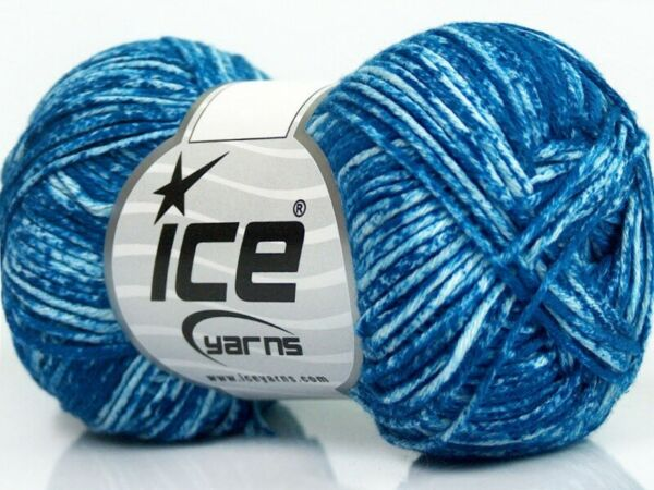 Ice JEANS Yarn #42573 WHITE BLUE 100% PURE NATURAL COTTON 50 Grams $8.12