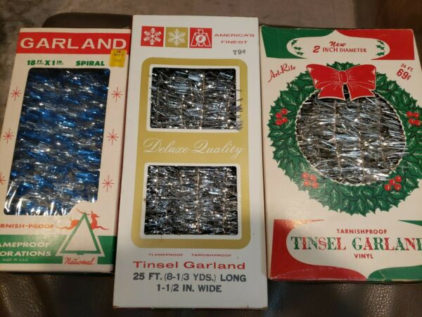 3 Vintage Boxes Silver Blue Tinsel Flameproof Garland USA 67 ft total NOS