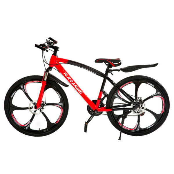 Full Suspension Mountain Bike 26quot; 21 Speed Bicycle Disc Brake Bike MTBRed Black