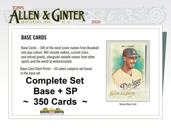 2020 Topps Allen amp; Ginter COMPLETE FULL SET w SP#x27;s 350 Cards 1 300 301 350
