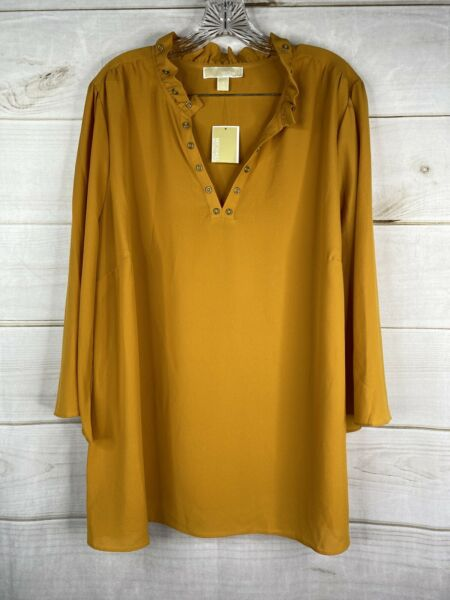 MICHAEL Michael Kors Womens Yellow Ruffle Grommet Blouse Top Plus Sz 1X NWT $21.59