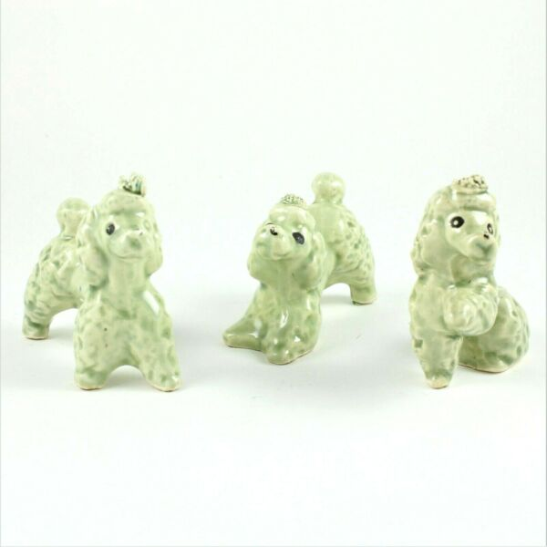 RARE Vintage POODLE FAMILY Porcelain Figurines Fancy Dogs Set of 3 Green $9.95