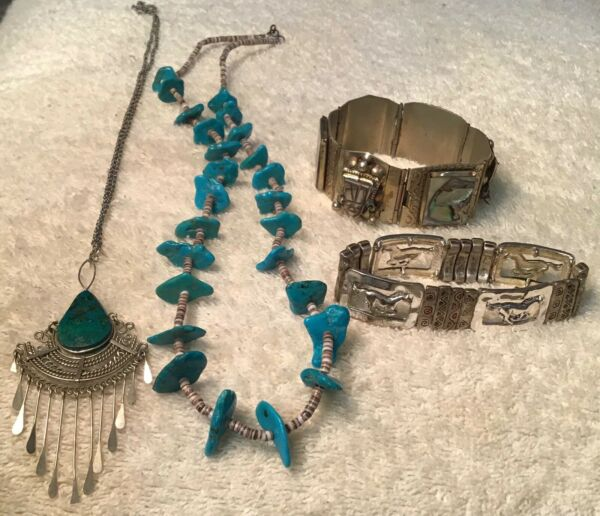 Mexico Southwestern Abalone Turquois Jewelry Lot Vintage Now