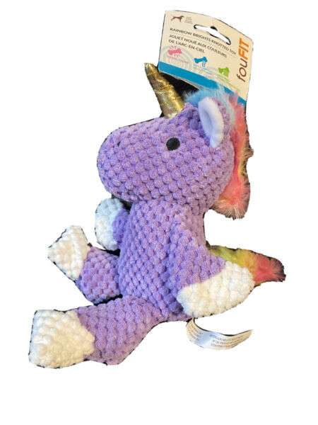 Foufit Dog Rainbow Purple Squeaky Knotted Toy Dog Toy $9.99