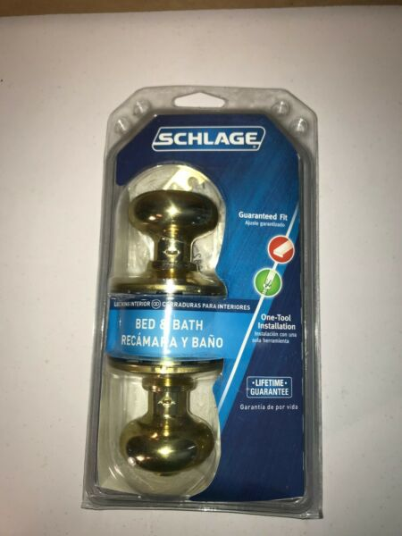Schlage F40 V PLY 605 For Bed Bath Plymouth Design Bright Brass *NEW Free Ship