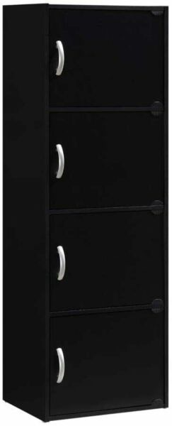 Black Utility 4 Door Multipurpose Storage Cabinet Tall Kitchen Pantry Organizer