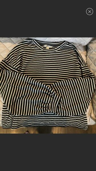 Women#x27;s Long Sleeve Black Striped Shirt Banana Republic Size Medium