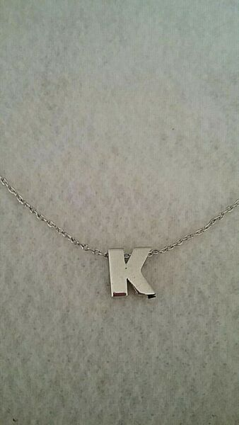 Vintage Sterling Silver Initial K Pendant Necklace