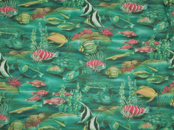 1 Yd Tranquil Waters Tropical Fish 100% Cotton Quilting Fabric 2009 RJR $6.50