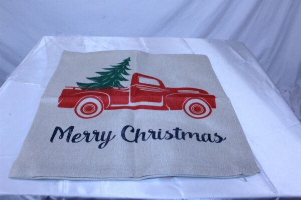 Christmas Holiday Linen Burlap Pillow Cover Merry Christmas Vintage Truck 2 Pack