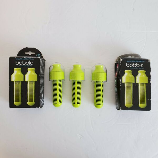 Bobble Water Bottle Filters Green With Caps NEW Lot of 3
