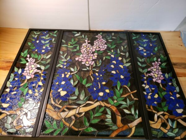 Tiffany Style Stained Glass 3 Section Fireplace Screen 31quot; T x 41quot; W