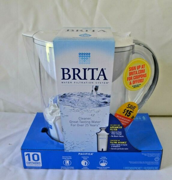 BRITA Water Filtration System Pitcher 10 Cup with Filter Pacifica BPA Free White