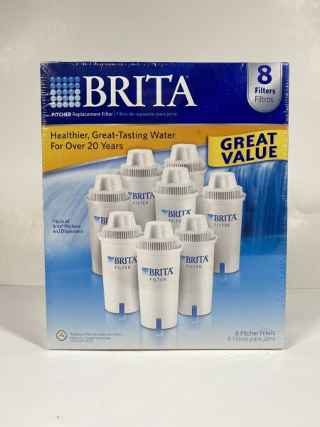Brita Water Pitcher Advanced Replacement Filters 8 Pack NEW SEALED