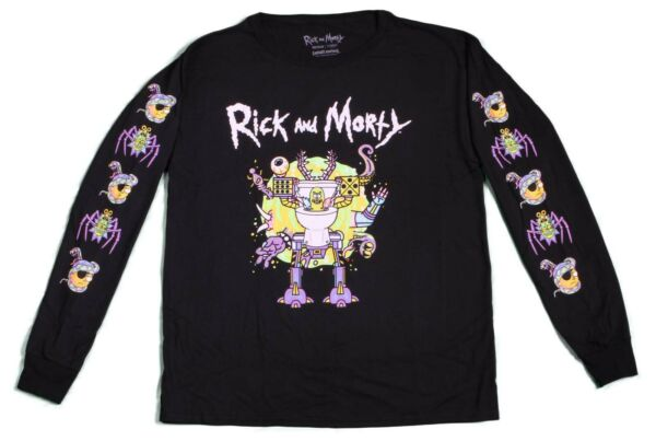 New Adult Swim Rick and Morty Long Sleeve Vintage Retro Cartoon T Shirt 90s Tee