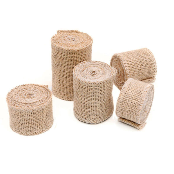 Burlap Ribbon Jute Fabric Rustic Table Runner in 1.5 3 4 6 amp; 21 Inches 10 yds