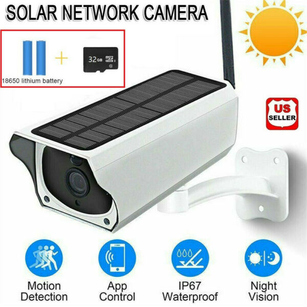 Solar Powered IP Camera 1080p WiFi Ip67 Night Vision Security 32gb Card Wireless