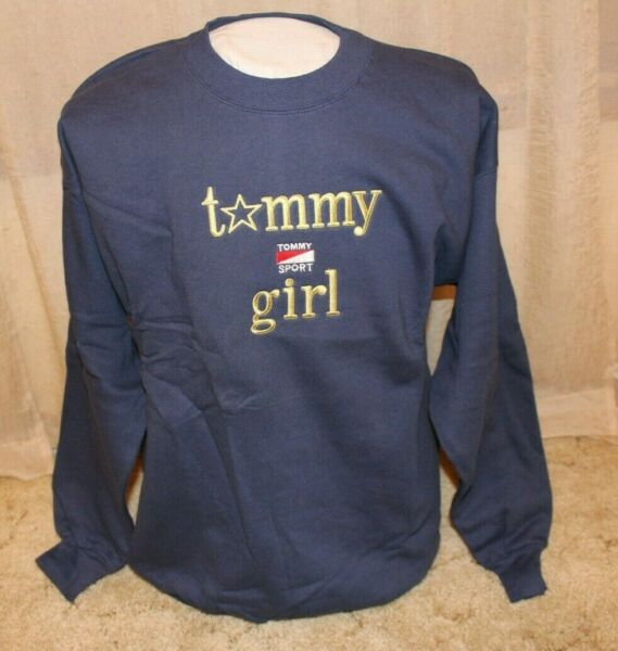 Tommy Sports Women#x27;s Tommy Girl Adult Large Crewneck Pullover Sweatshirt Navy $24.95
