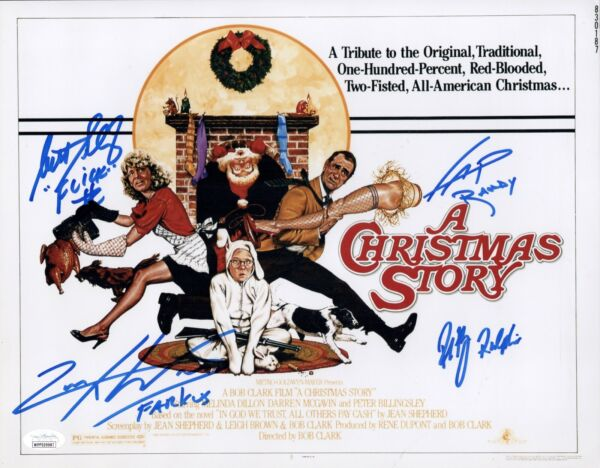 PETER BILLINGSLEY CAST x4 Signed 11x14 A CHRISTMAS STORY Photo Autograph JSA COA